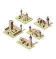 castles low poly video game isometric assets vector image vector image