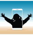 child silhouette with on cellphone vector image vector image
