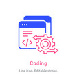 coding icon on white background vector image vector image