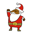 comic cartoon santa claus punching air vector image