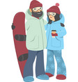 couple with snowboard vector image vector image