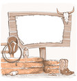 cowboy background with wood board for text vector image vector image