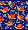 cute seamless pattern with folk snail and vector image