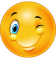 cute smiling and winking emoticon vector image vector image