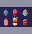 delicious cupcakes set colorful creamy desserts vector image