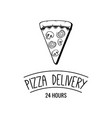 delicious pizza slice pizza delivery logo emblem vector image