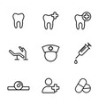Dental icons set on white background vector image