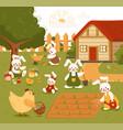farm or garden scene with cute funny animals vector image