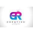 gr g r letter logo with shattered broken blue vector image vector image