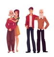 Grandchildren hugging their grandparents cartoon vector image vector image