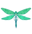 Green Dragonfly on white background vector image vector image