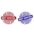 grunge best cocktail textured round stamp seals vector image vector image