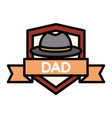 happy fathers day hat ribbon badge decoration vector image