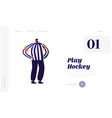 hockey arbiter website landing page referee on vector image