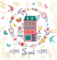 Home sweet home card with floral wreath vector image
