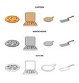 isolated object of pizza and food symbol set of vector image vector image