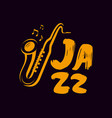 jazz logo or label live music saxophone blues vector image vector image