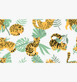 jungle cats pattern vector image vector image