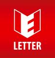 logo letter e in open book vector image
