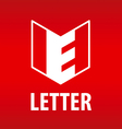 logo the letter E in the open book vector image
