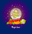 magic time christmas with snow globe vector image vector image