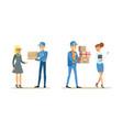 male courier brought parcels to clients set vector image