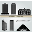 Memphis landmarks and monuments vector image vector image