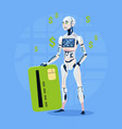 modern robot hold credit card futuristic vector image vector image