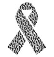 mourning ribbon collage of dollar and dots vector image vector image