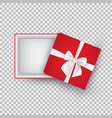 open gift box with a white bow isolated on a vector image vector image
