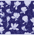 pattern hand drawn collection magnolia flowers vector image vector image