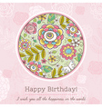Pink birthday card with big round of spring flower vector image