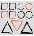 set grunge charcoal frames different shapes vector image