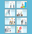 set of business posters with ambitious employees vector image
