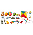 Set of many colorful toys vector image vector image