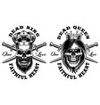 set of skulls king and queen vector image vector image
