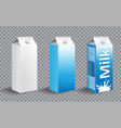 set realistic milk carton package milk package vector image vector image