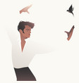 spanish flamenco dancer man and flying swallow on vector image vector image