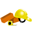 tape measure helmet bricks vector image vector image