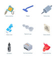 tattoo way icons set isometric style vector image vector image