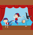 three kids dancing on stage vector image vector image