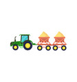 tractor with seeding machine icon vector image