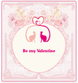 Valentine card with cats in love vector image vector image