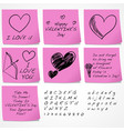 valentines day sticky notes vector image vector image