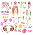 watercolor boho collection vector image vector image