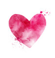 watercolor pink heart shape art isolated on white vector image