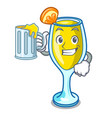 with juice mimosa mascot cartoon style vector image vector image