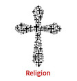 crucifix cross religion symbol icon vector image
