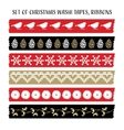 Set of vintage Christmas washi tapes ribbons with vector image