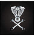 silver combustion engine on metal background vector image